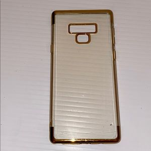Samsung galaxy note 9 flexible clear and gold case
